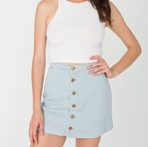 American apparel denim a-line button front skirt